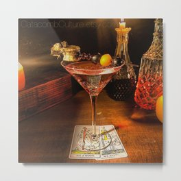 Catacomb Culture - Halloween Martini Metal Print