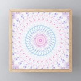 Pastel Wave Mandala in Pale Pink, White, and Lilac Framed Mini Art Print