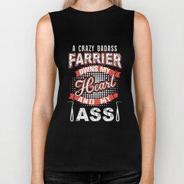 i crazy badass farrier owns my heart and my ass welder Biker Tank