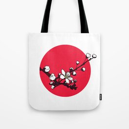 Red Cherry Blossoms Tote Bag