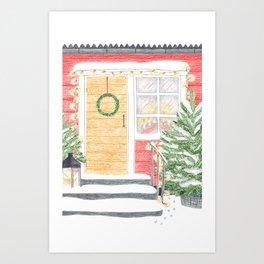 Red House Christmas Art Print