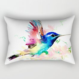 Hummingbird , Blue Turquoise Pink Rectangular Pillow