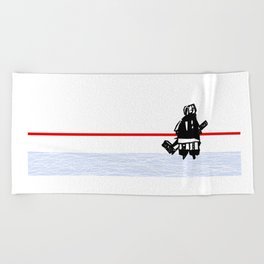 The Goalie - after a hockey game Beach Towel