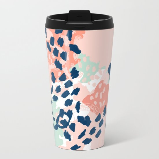Kylie - abstract mint pastels painting boho trendy simple minimalist canvas home decor Metal Travel Mug
