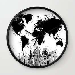 world map city skyline 4 Wall Clock