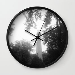 Dreamy Currituck Beach Lighthouse Daze - Black and White Film Photograph Wall Clock