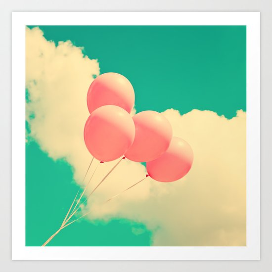 Happy Pink Balloons on retro blue sky  Art Print