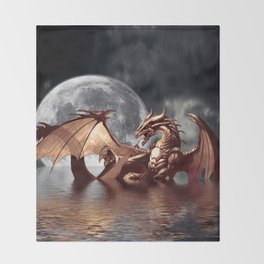 Mystical Dragon and Moon Fantasy Design Throw Blanket