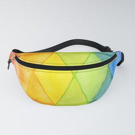 Geometric Abstract Rainbow Watercolor Pattern Fanny Pack