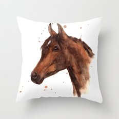 Watercolor HORSE painting, horses, hore art, stallion Throw Pillow