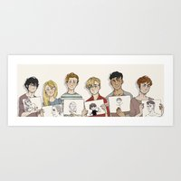 les mis Art Prints featuring Les mis - arty friends by Little wadoo