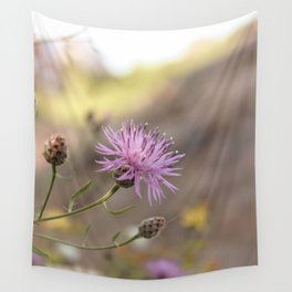 Purple Flowers Vintage on the Beach Wall Tapestry