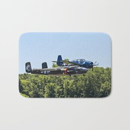 B-24 and Hellcat World War II Aircraft Fly Together at Mosby Missouri Bath Mat