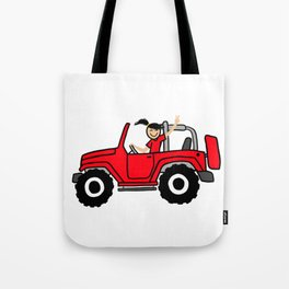 Jeep Wave Girl - Side View - Red Tote Bag