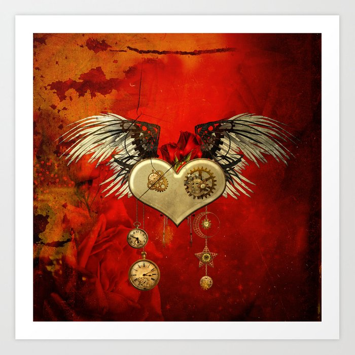 Wonderful steampunk heart with wings Kunstdrucke