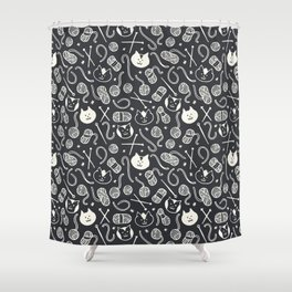 Cats LOVE Yarn! in Grey Shower Curtain