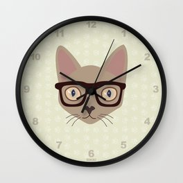 Hipster Siamese Cat Portrait Wall Clock