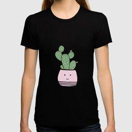 Happy cactus in pink flowerpot T-shirt