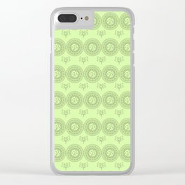 green boho pattern with mandalas and flowers Clear iPhone Case