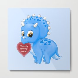 Cute Blue Baby Triceratops Red Love Mommy Heart Metal Print