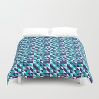 spires Duvet Covers featuring PURPLE TURQUOISE SPIRES  by Oksana Smith