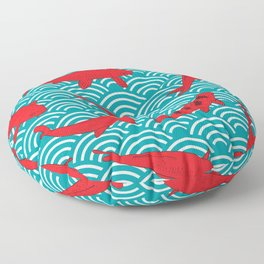 Koi carp. Red fish. black outline sketch doodle. azure teal burgundy maroon Nature oriental backgrou Floor Pillow