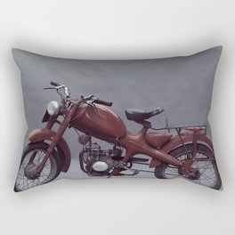 Old motorcycle photography, old motorbike, man cave sign, garage wall art Rectangular Pillow