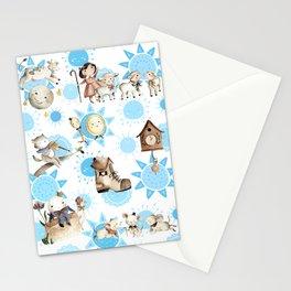 Blue Nursery Rhyme Pattern Stationery Cards