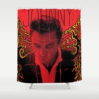 johnny cash Shower Curtains featuring Wings of Fire Johnny Cash by Matt Cave