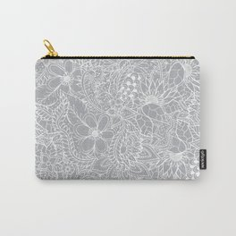 Modern trendy white floral lace hand drawn pattern on harbor mist grey Carry-All Pouch
