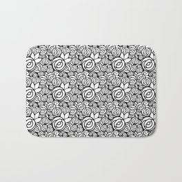 Black & White Rosettes Bath Mat
