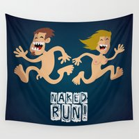 naked Wall Tapestries featuring Naked Run! by neicosta