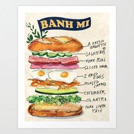Banh Mi Sandwich Recipe Art Print