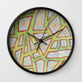 Map Pattern on Spring Green Wall Clock
