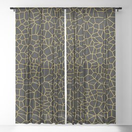 Black and Gold Tiles II Sheer Curtain