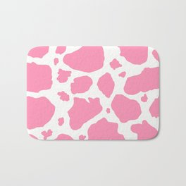 pink and white animal print cow spots Bath Mat