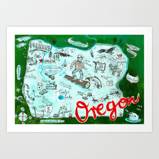 Map of Oregon Art Print