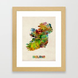 Ireland Eire Watercolor Map Framed Art Print