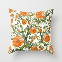 Orange Spring Summer Flowers Boho Throw Pillow