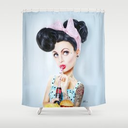 Pinup cool woman Shower Curtain