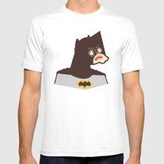 Bat Man Mens Fitted Tee MEDIUM White
