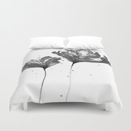 Flower 3, black and white Duvet Cover