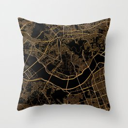 Black and gold Seoul map Throw Pillow