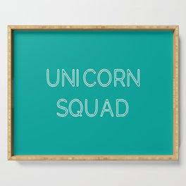 Unicorn Squad - Aqua Blue Green and White Serving Tray