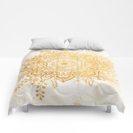 Queen Starring of Mandala-Gold Sunflower II Comforters