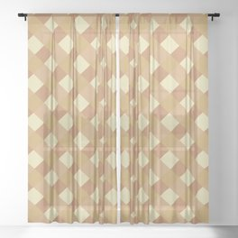 Gingham Pattern - Tortilla Brown Color Sheer Curtain