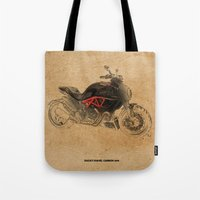 ducati Tote Bags featuring Ducati Diavel Carbon 2015 by Larsson Stevensem