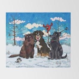 Three Dogs Posing in Winter Throw Blanket