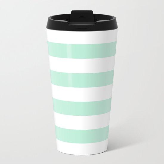 Stripe Horizontal Mint Green Metal Travel Mug