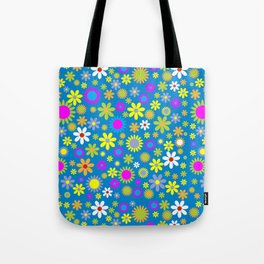 Tropical Flowers, Petals - Pink Green Blue Yellow Tote Bag